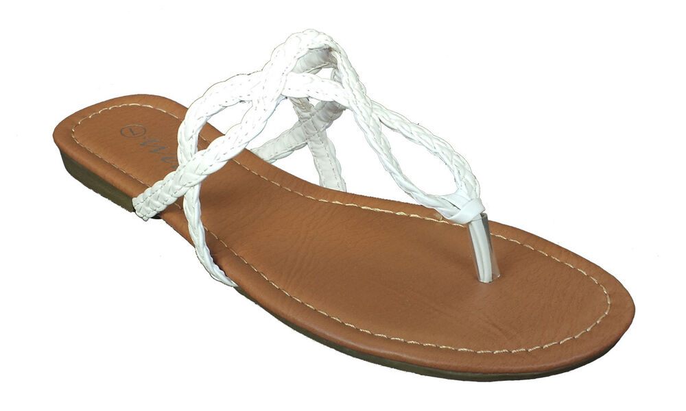 Womens Fashion Braided Strap N163 Cute White Flip Flop ...