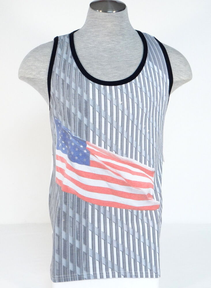 Dc shoes american flag graphic white sleeveless muscle for Sleeveless graphic t shirts