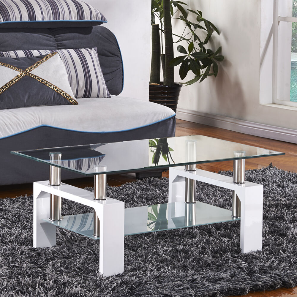 Luxurious glass coffee table rectangular black white red walnut legs chrome bars ebay Black and white coffee table