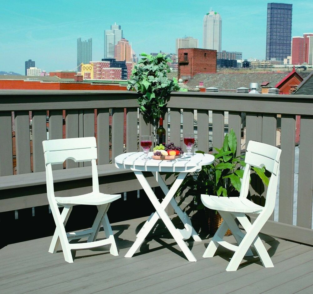 Cafe Bistro Table & Chair Set Folding Garden Balcony Patio Furniture Wh