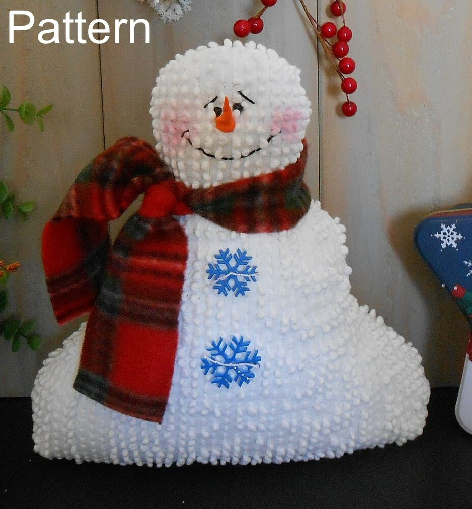 Pattern christmas holiday snowman doll repurposed bedspread primitive