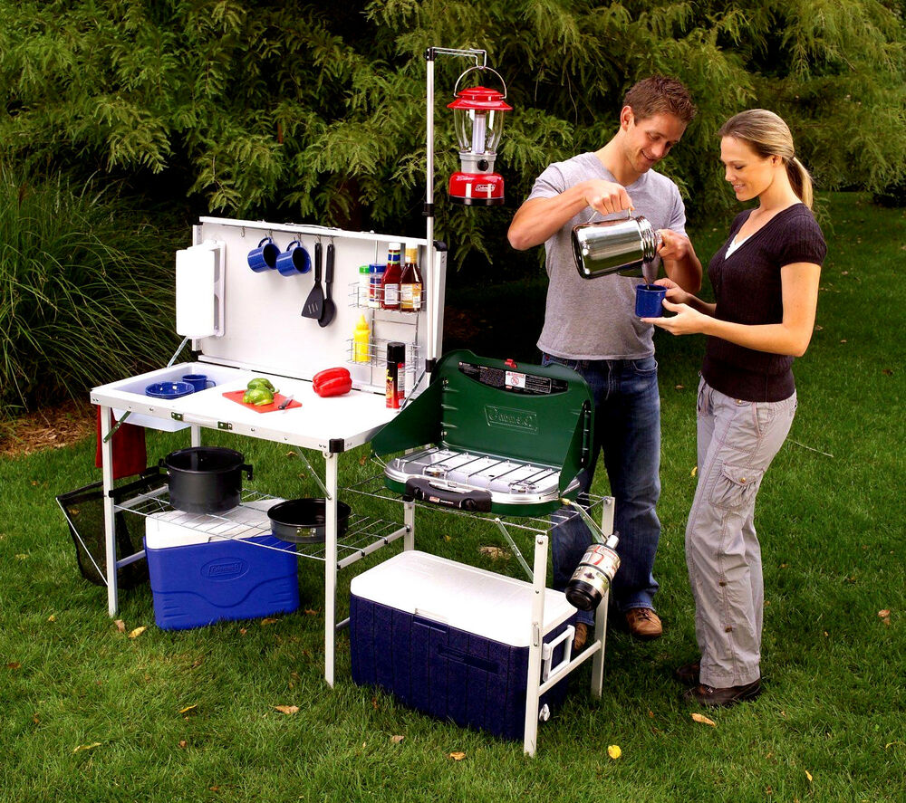 Camp Kitchen Portable Folding Deluxe Table Outdoor Cooking