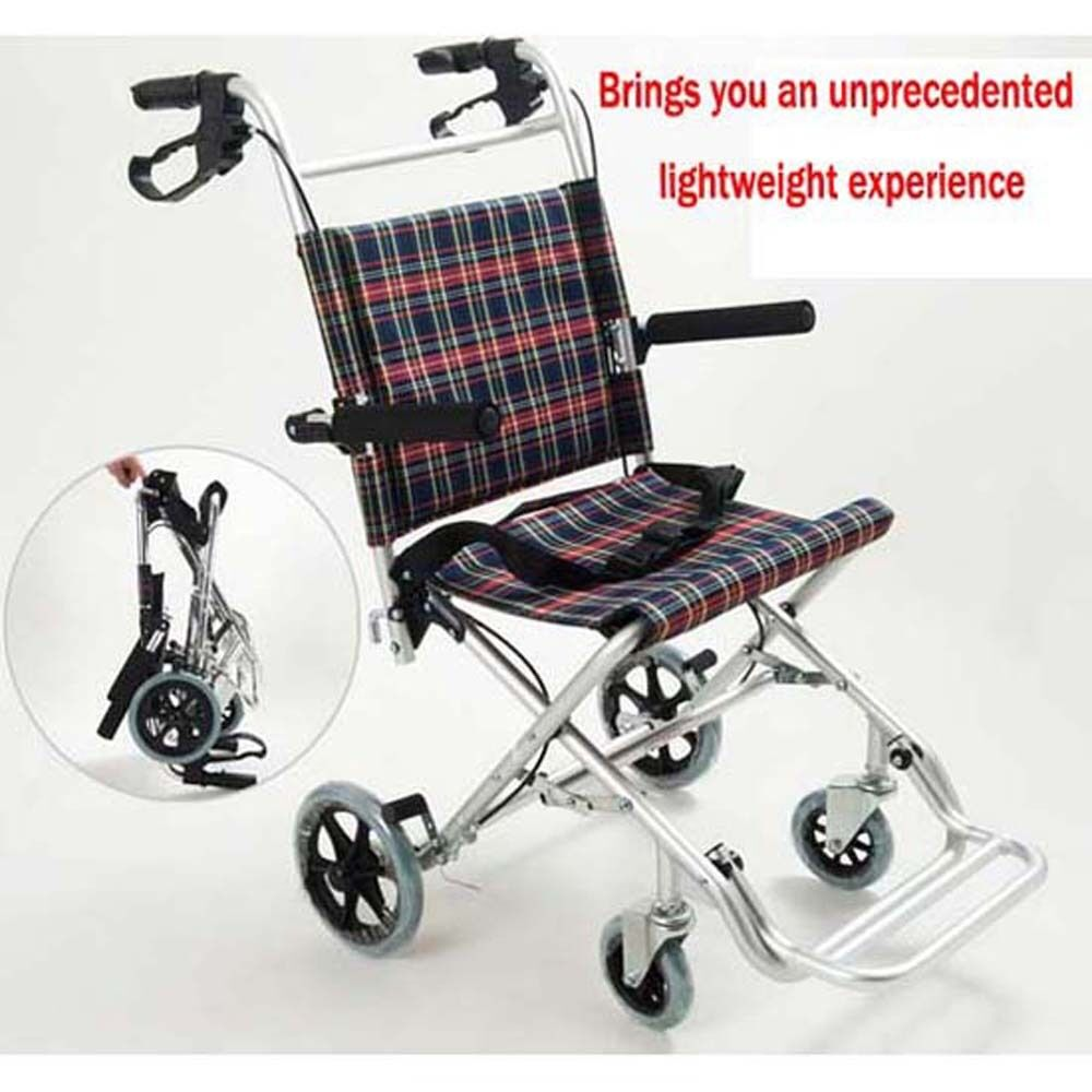 Medical wheelchair super light portable folding transport chair with