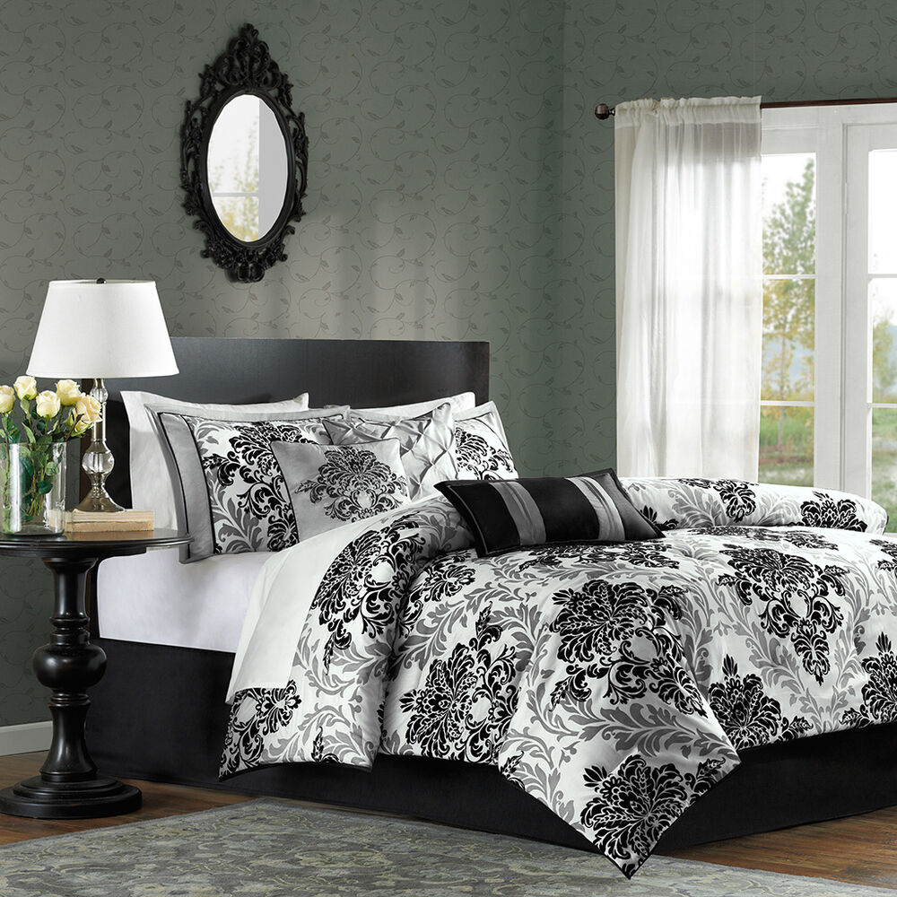 Beautiful 7pc modern elegant black white grey floral for Elegant white comforter sets