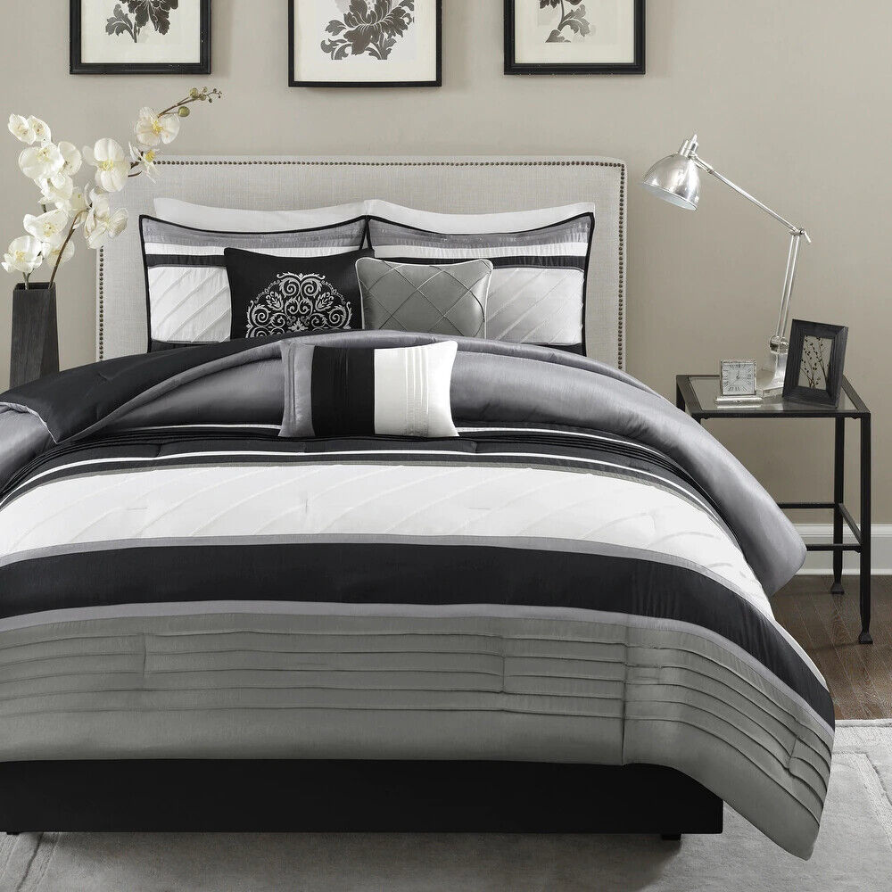 beautiful 7pc modern elegant black white grey floral scroll comforter set new ebay. Black Bedroom Furniture Sets. Home Design Ideas