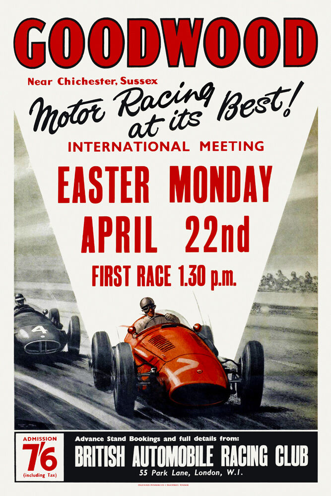 Vintage English Motor Racing Poster 1950s Goodwood Circuit Moss ...