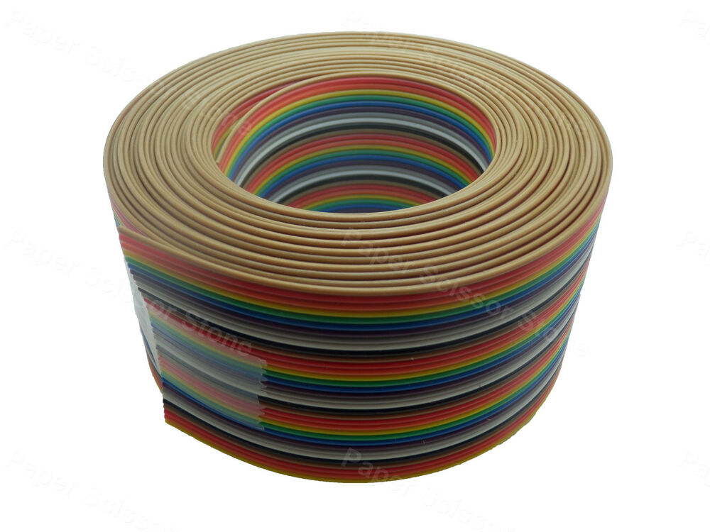15ft 34 Way Flat Color Rainbow Multicolor Ribbon Cable