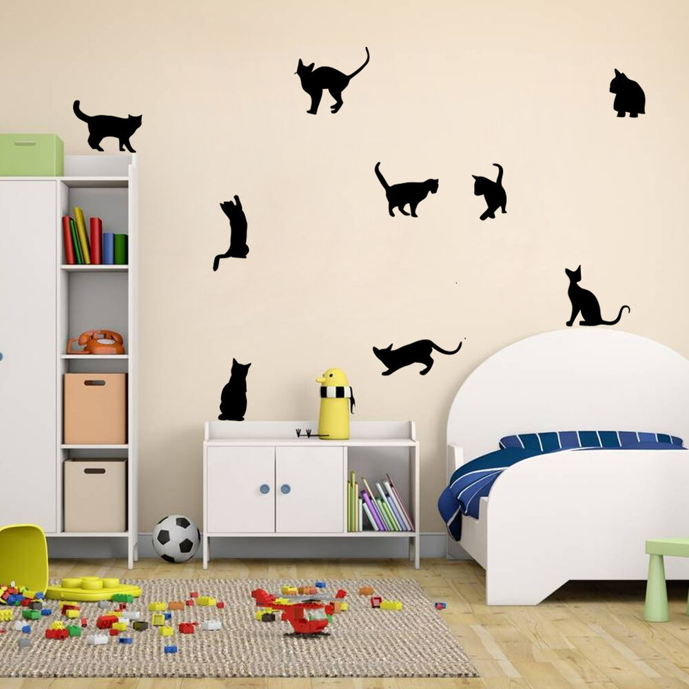 Removable diy 9 cats wall stickers vinyl home mural decals for Decoration mural chambre