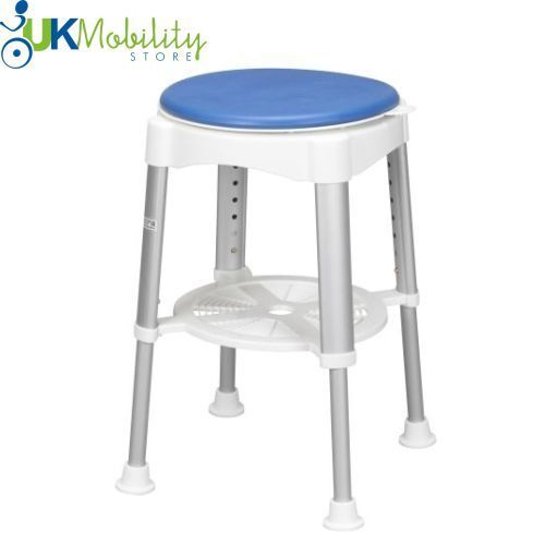 Height Adjustable Round Bath Amp Shower Stool With Blue