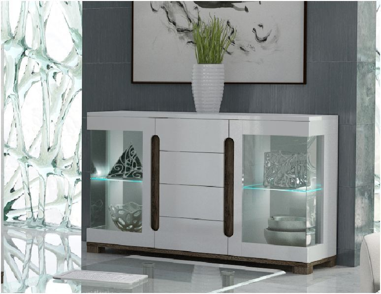 Lorenz High Gloss White Wide Sideboard Glass Door with LED Lights Lounge Furn -> Glass Tv Sideboard
