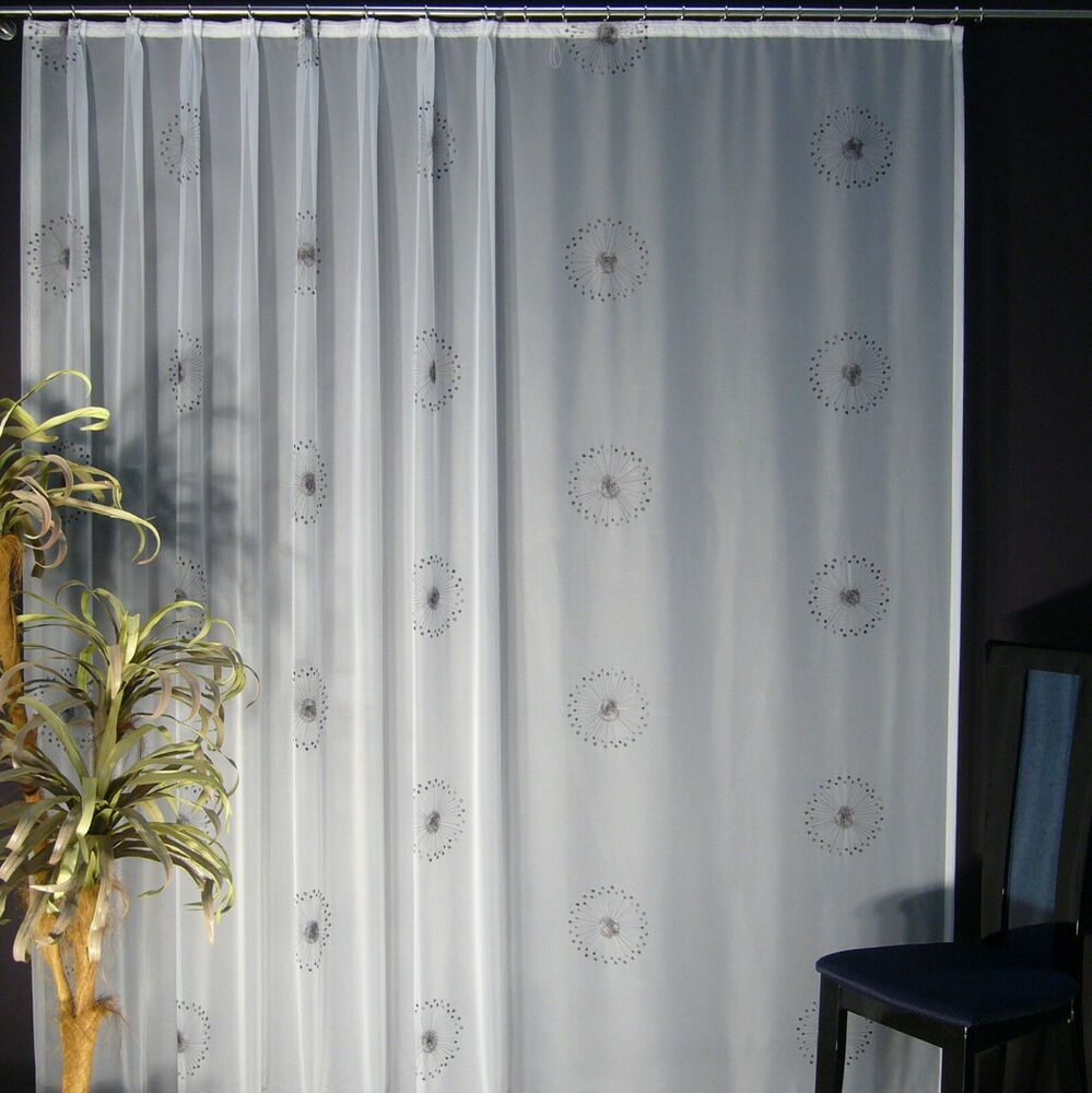 hochwertige fertiggardine voile store mit motiv faltenband bleiband modena ebay. Black Bedroom Furniture Sets. Home Design Ideas