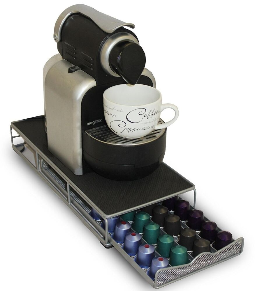 nespresso coffee pod holder and machine stand with drawer. Black Bedroom Furniture Sets. Home Design Ideas