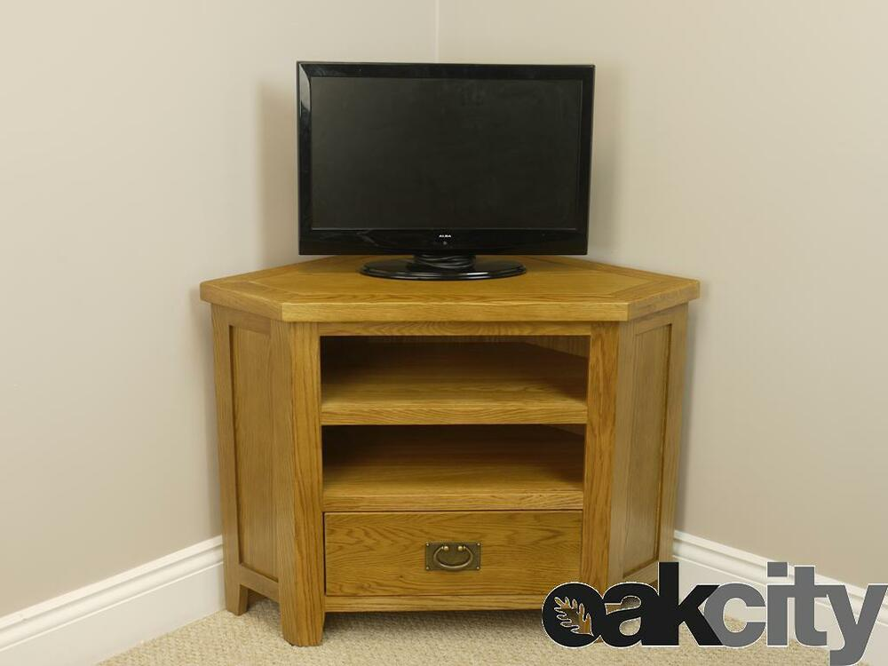 Oak Corner Tv Unit Solid Tall Double Shelved Cabinet Furniture Stand Tucan Ebay