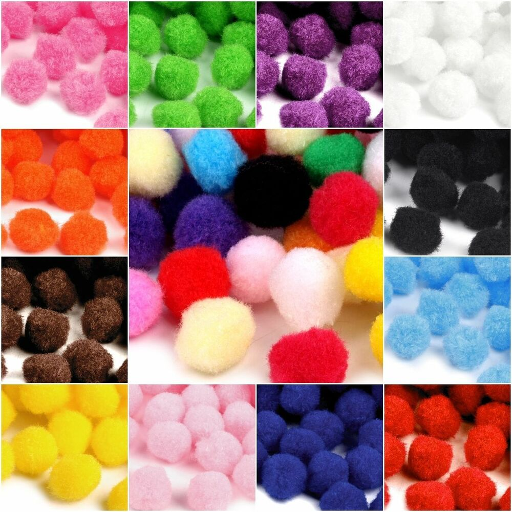 100stk 13 15 20 25mm pompons pompon bommel n hen tilda basteln borte pompoms ebay. Black Bedroom Furniture Sets. Home Design Ideas