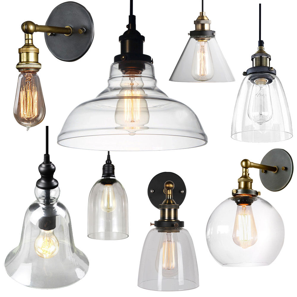 Wall Pendant Light: Vintage Glass Ceiling Light Wall Lamp Shade Pendant