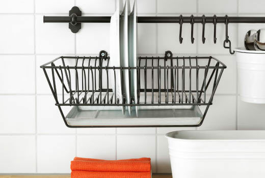 outstanding ikea kitchen wall storage | Ikea Steel Rail 57cm + 5 Hooks Kitchen Utensil Storage ...