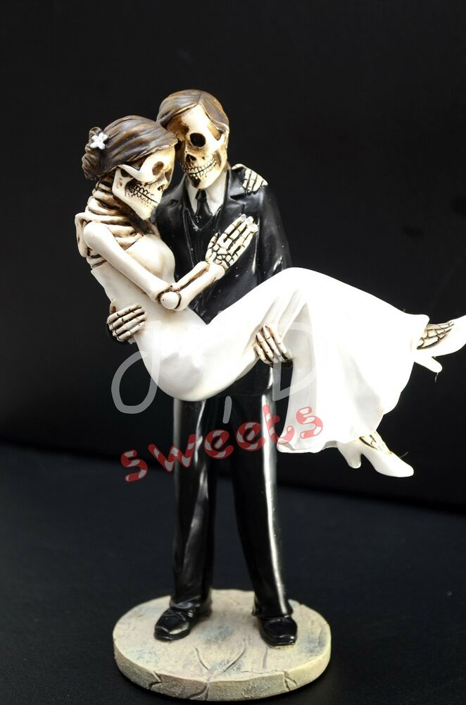 Wedding Skeleton Cake Topper Groom Caring Bride Halloween