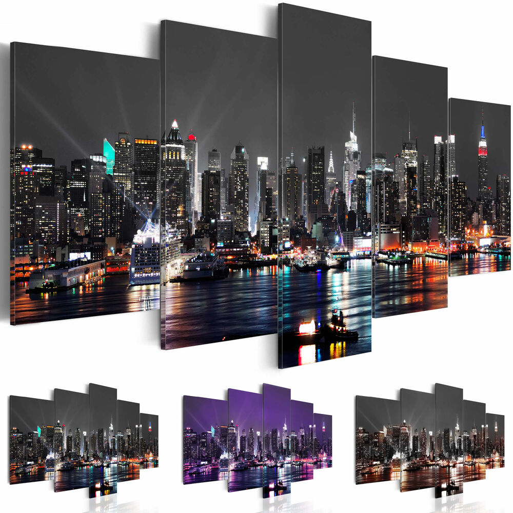 wandbilder xxl new york leinwand bild skyline kunstdruck nyc nacht d a 0022 b n ebay. Black Bedroom Furniture Sets. Home Design Ideas
