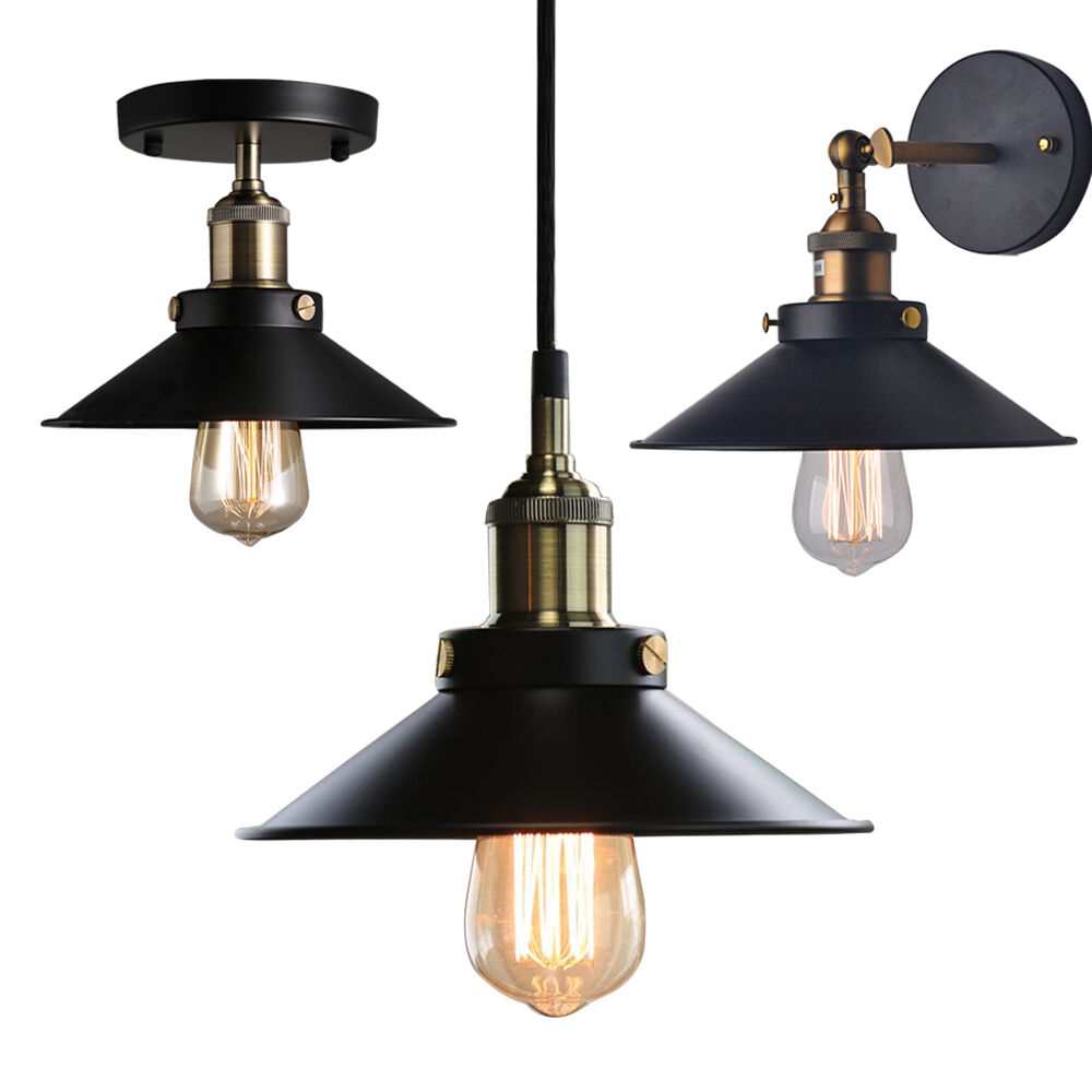 Industrial metal ceiling light fixtures pendant wall lamp for Metal hanging lights