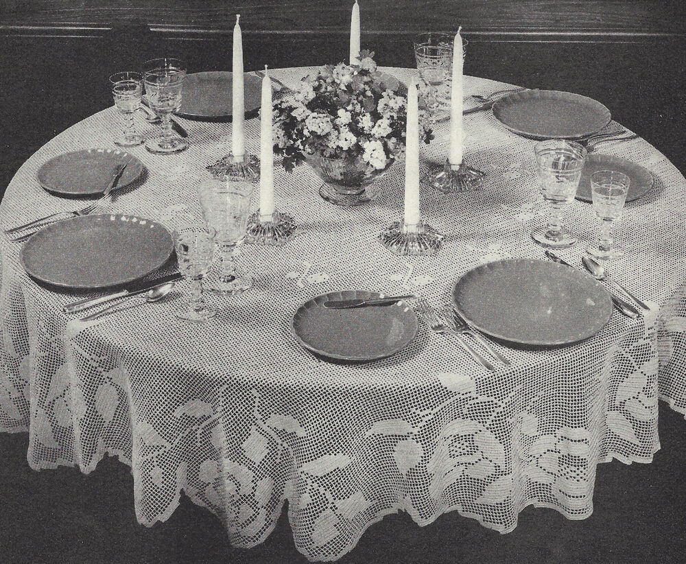 Vintage Crochet PATTERN to make Filet Round Tablecloth 72 ...