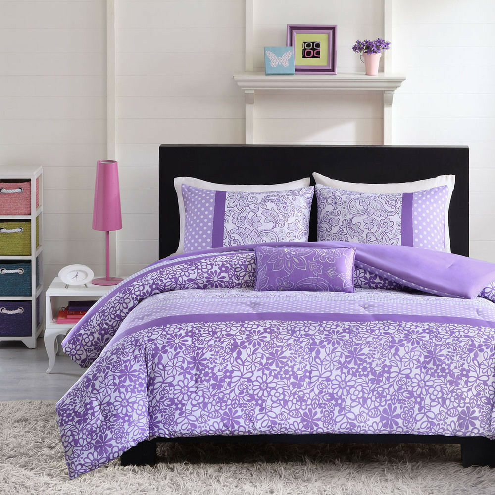Beautiful modern purple lavender floral polka dot girls comforter set pillow ebay for Beautiful bedroom comforter sets