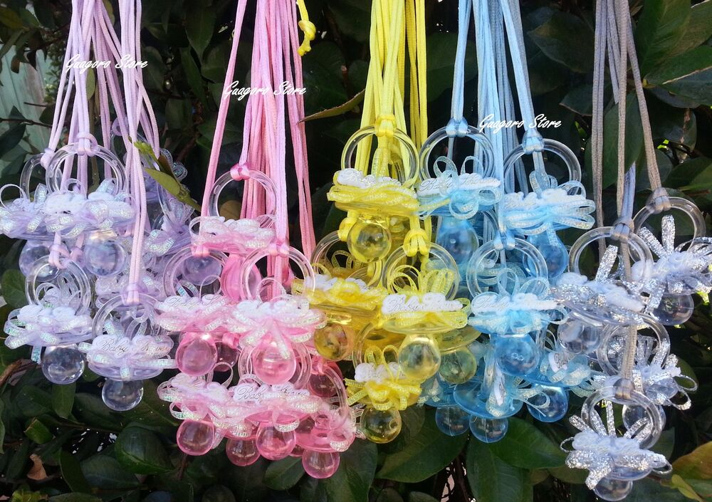 Large pacifier necklaces baby shower game favors prizes for Baby shower decoration free