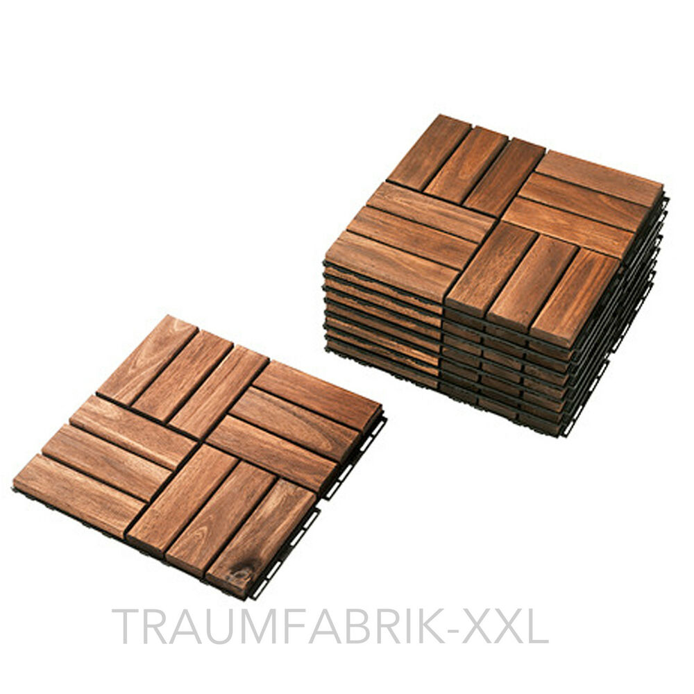 Ikea 9 mm pack wooden tiles wood floor grate balcony patio for Ikea parquet
