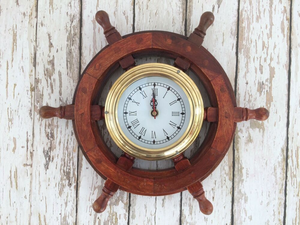 12 ship wheel clock wood brass wooden nautical wall for Decorative items