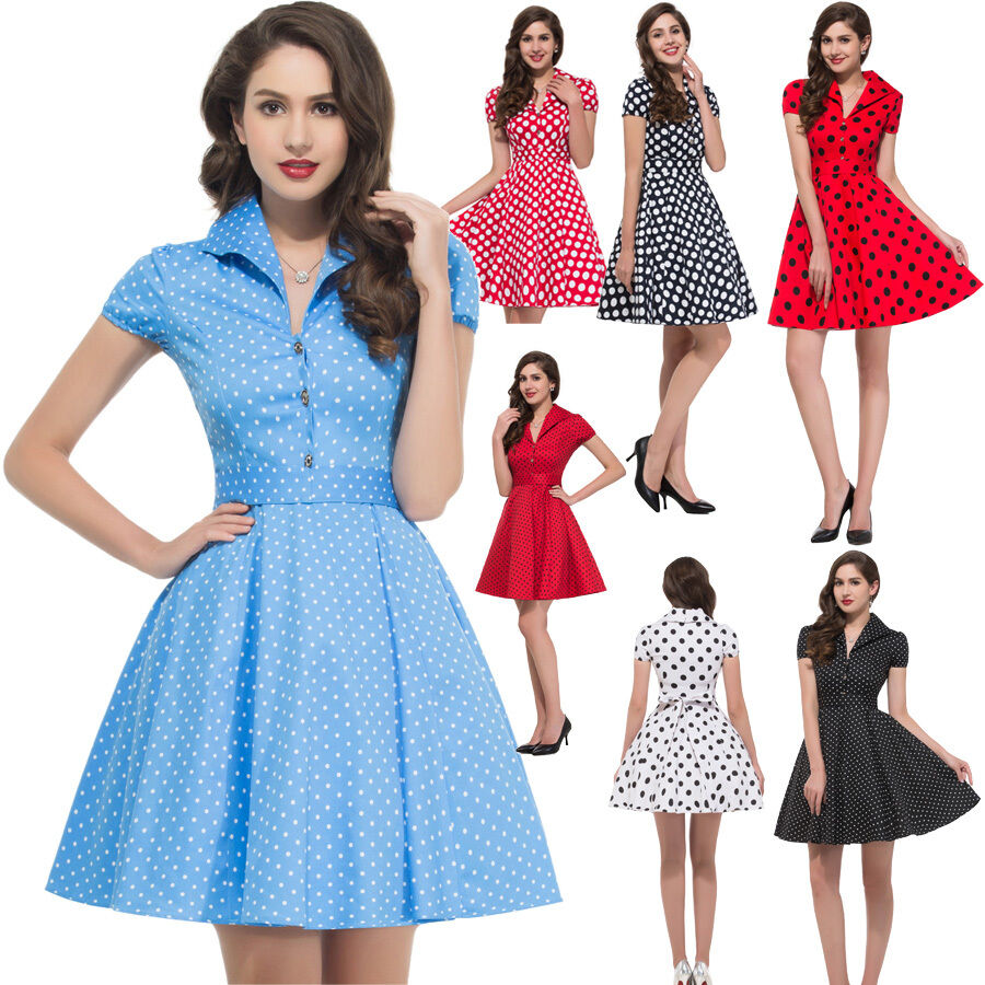 Vintage Housewife Style 50s 60s Swing Pinup Evening Party Retro Cocktail Dress Ebay