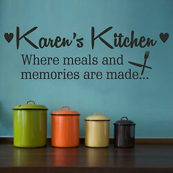 Kitchen Memories Wall Sticker With Personalised Custom Name Decal Quote Vinyl