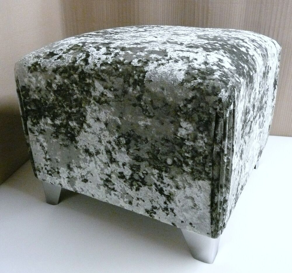 Quality Silver Crushed Velvet Footstool Pouffe With