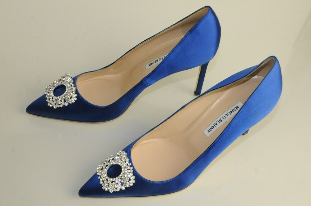 manolo wedding shoes new manolo blahnik bb 90 royal blue satin shoes 5695
