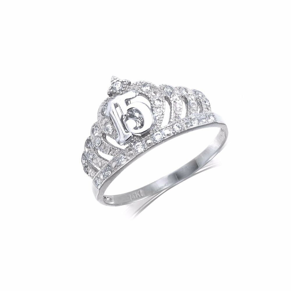 14k solid white gold cz crown sweet 15 ring quinceanera