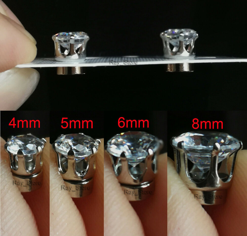 earrings zirconia cz prong silver in round sterling cubic diamond stud