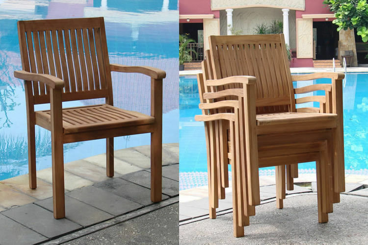 Leveb grade a teak wood dining stacking arm chair outdoor for Wood dining arm chairs