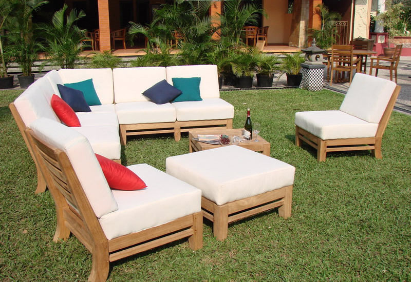 Ramled Grade A Teak Wood 7pc Sectional Sofa Lounge Set Outdoor Garden Patio New Ebay