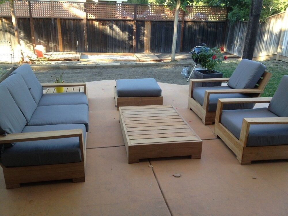 Leveb Grade-A Teak Wood 6 Pc Outdoor Garden Patio Sofa