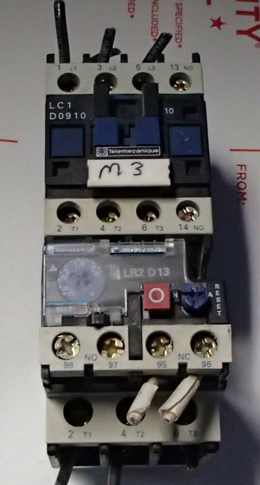 Telemecanique Lc1 D0910 Contactor With Lr2 D1307 Overload Relay Used