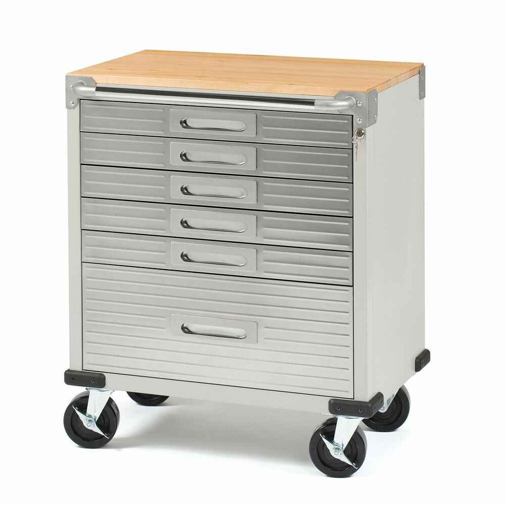 steel 6 drawer metal rolling storage cabinet tool box wood workbench 5 casters ebay. Black Bedroom Furniture Sets. Home Design Ideas