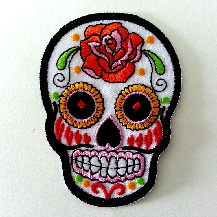 #8 COLORFUL SUGAR SKULL DESIGN TATTOO White Embroidered ...