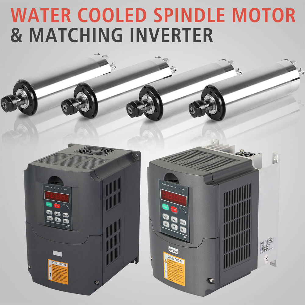 Water Cooled Spindle Motor And Vfd Variable Frequency Drive Inverter Ebay