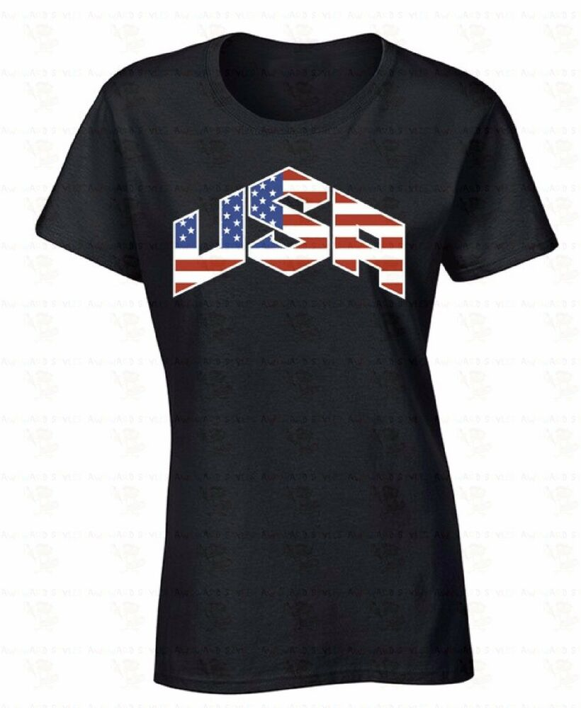 Usa Flag Women T Shirt 4th Of July Patriotic United States