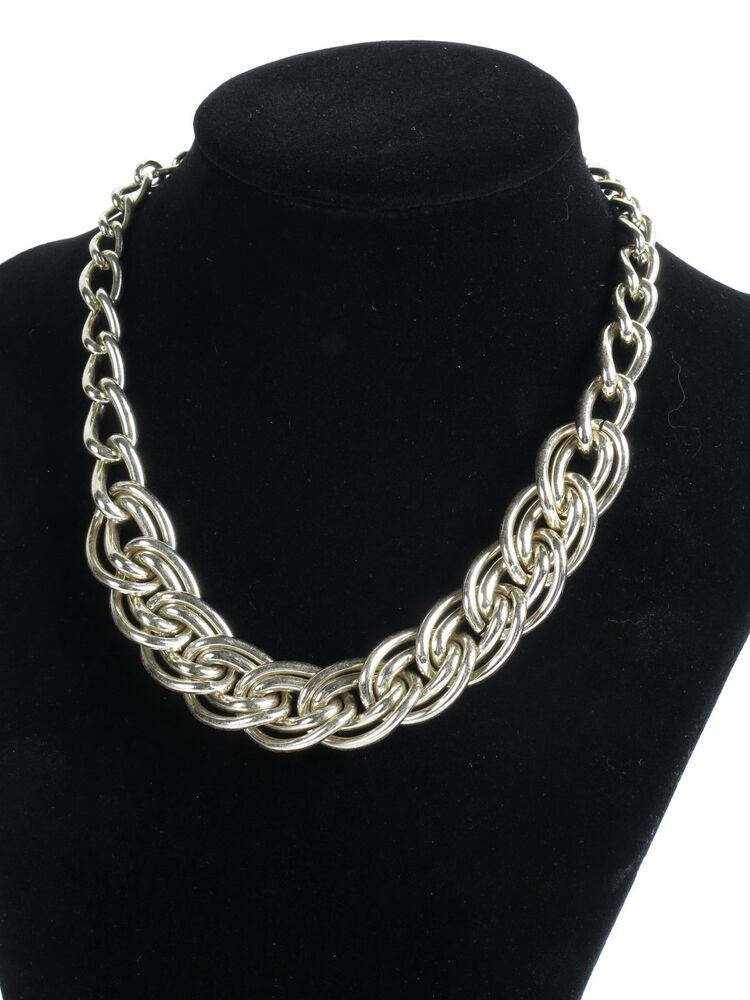 Estate vintage unsigned silver tone thick chunky choker ...