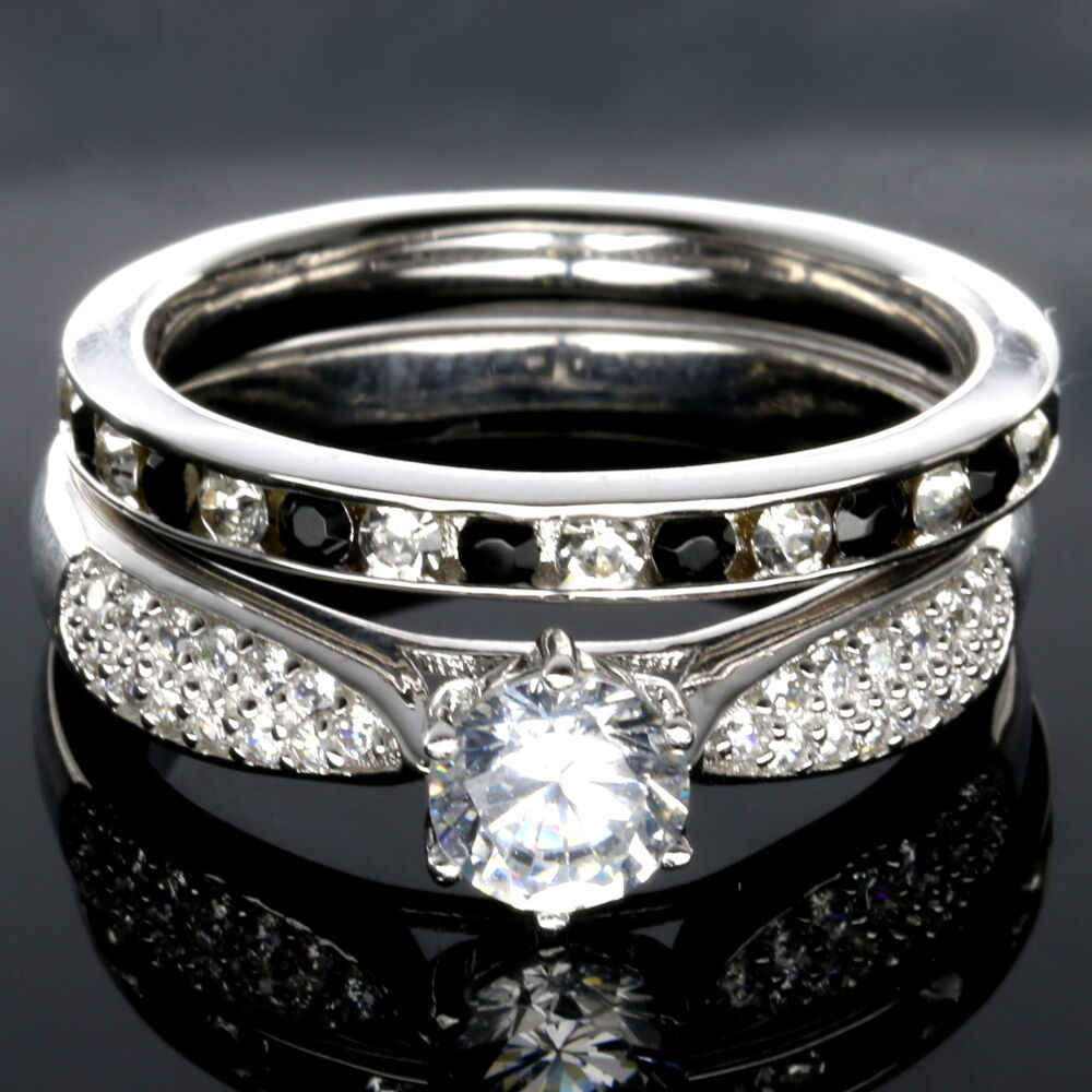 WEDDING RINGS 2pc SET PREMIUM CZ 925 Sterling Silver Black and White