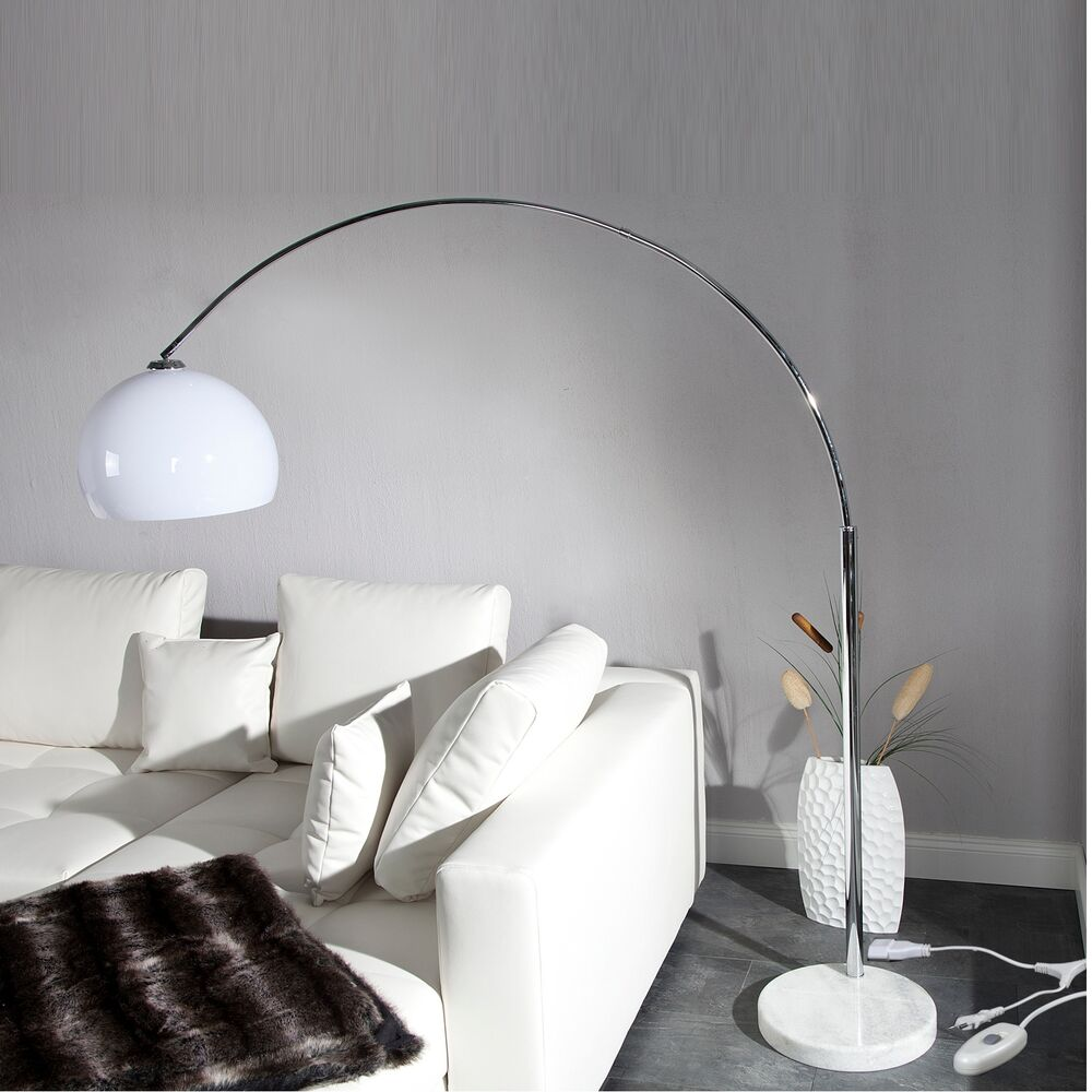 big bow bogenlampe wei design stehlampe dimmer dimmbare wohnzimmerlampe ebay. Black Bedroom Furniture Sets. Home Design Ideas