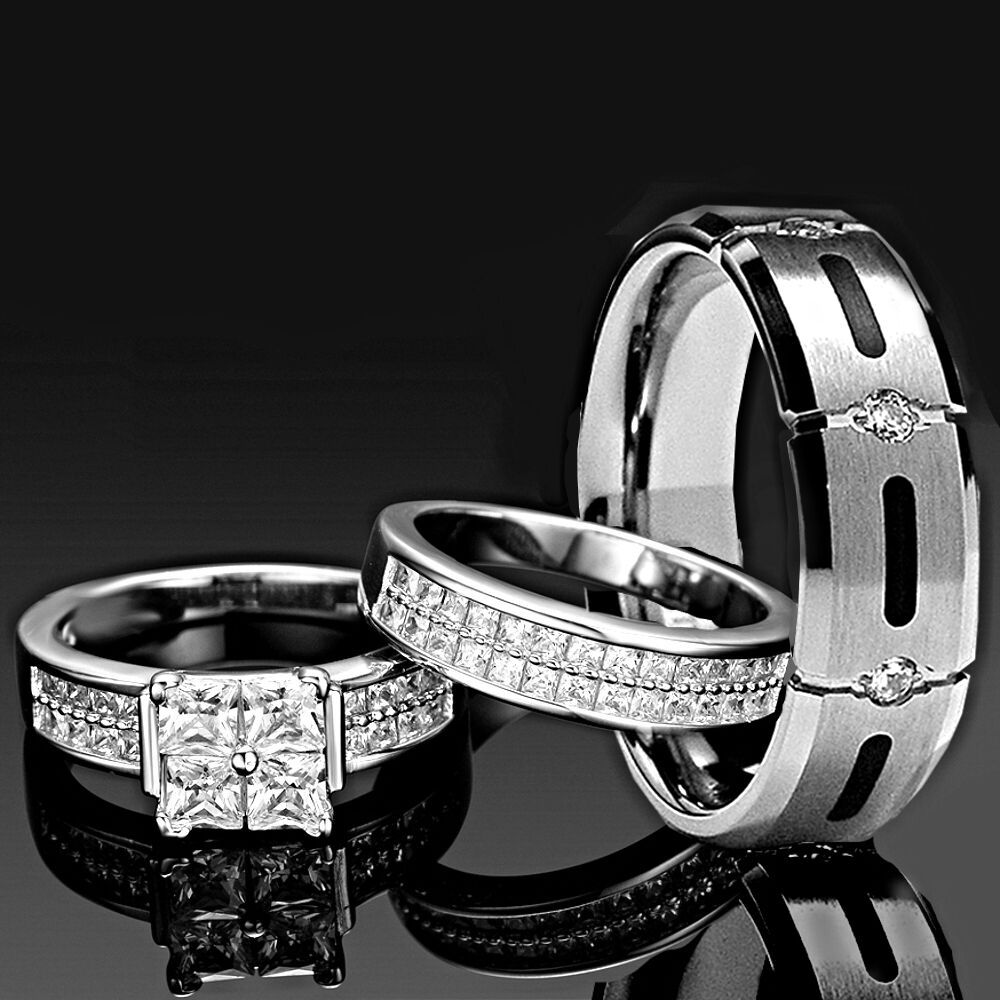 Wedding Ring Piercing: His And Hers Wedding Rings 3 Pcs ENGAGEMENT CZ 925
