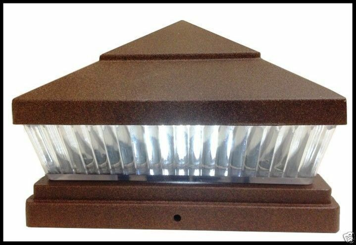2 pack 5x5 or 6x6 solar copper post caps for pvc vinyl fence lights with 5 le. Black Bedroom Furniture Sets. Home Design Ideas