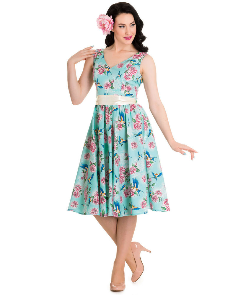 Hell bunny blue floral swallows lacey 50 39 s pin up dress for Plus size wedding dresses size 32 and up