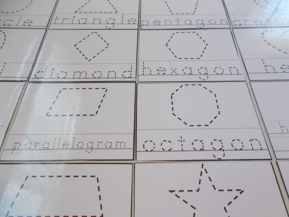 23 Shapes Tracing Laminated Dry Erase Cards. Preschool