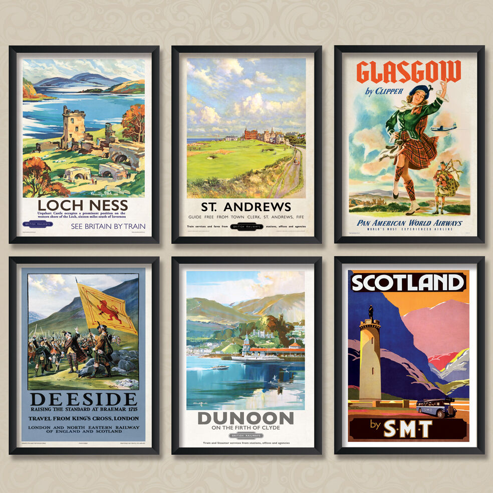 Vintage Travel Trailers: A4 Vintage Travel Posters: Scotland Scottish Poster Set